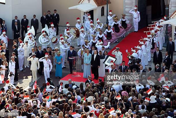 Princess Charlene of Monaco and Prince Albert II of Monaco pose after the civil ceremony of the Royal Wedding of Prince Albert II of Monaco to...