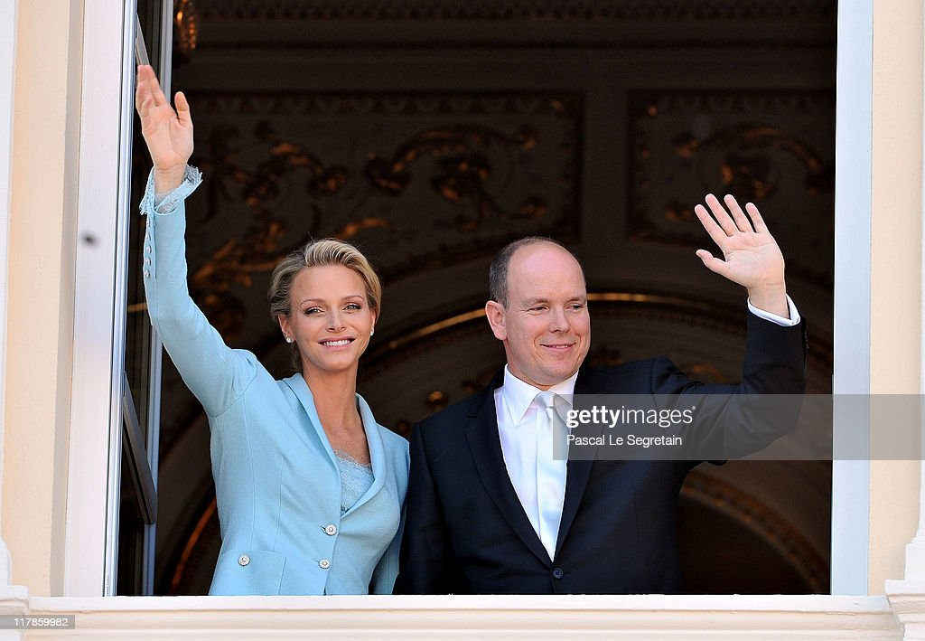 Princess Charlene of Monaco and Prince Albert II of Monaco pose on the balcony after the civil ceremony of the Royal Wedding of Prince Albert II of Monaco to Charlene Wittstock at the Prince's Palace on July 1, 2011 in Monaco. The ceremony took place in the Throne Room of the Prince's Palace of Monaco, followed by a religious ceremony to be conducted in the main courtyard of the Palace on July 2. With her marriage to the head of state of Principality of Monaco, Charlene Wittstock has/will become Princess consort of Monaco and gain the title, Princess Charlene of Monaco. Celebrations including concerts and firework displays are being held across several days, attended by a guest list of global celebrities and heads of state.