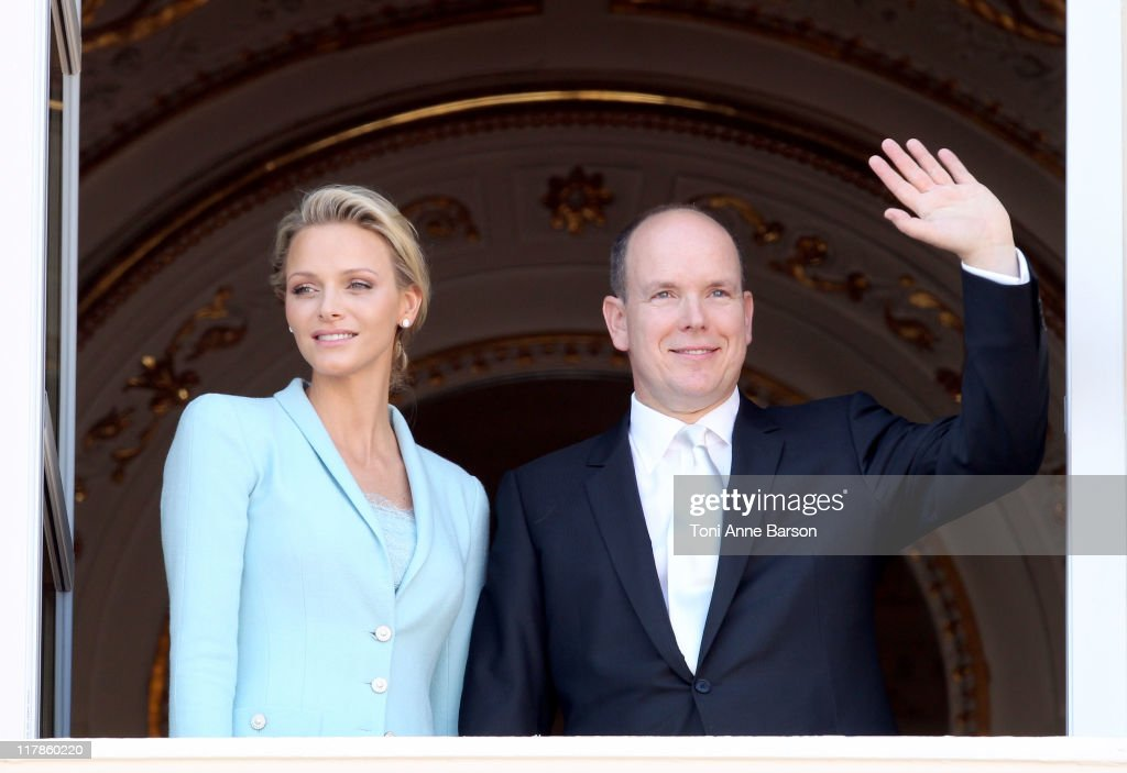 Princess Charlene of Monaco and Prince Albert II of Monaco pose on the balcony after the civil ceremony of the Royal Wedding of Prince Albert II of Monaco to Charlene Wittstock at the Prince's Palace on July 1, 2011 in Monaco. The ceremony took place in the Throne Room of the Prince's Palace of Monaco, followed by a religious ceremony to be conducted in the main courtyard of the Palace on July 2. With her marriage to the head of state of Principality of Monaco, Charlene Wittstock has become Princess consort of Monaco and gain the title, Princess Charlene of Monaco. Celebrations including concerts and firework displays are being held across several days, attended by a guest list of global celebrities and heads of state.