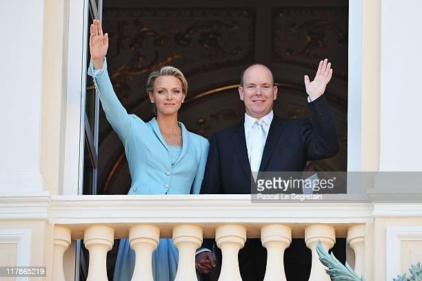 Princess Charlene of Monaco and Prince Albert II of Monaco pose on the balcony after the civil ceremony of the Royal Wedding of Prince Albert II of...
