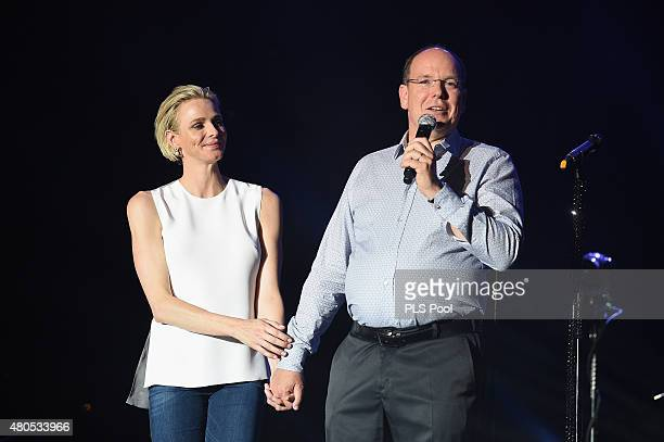 Princess Charlene of Monaco and Prince Albert II of Monaco speak onstage during the Second Day of the 10th Anniversary on the Throne Celebrations on...
