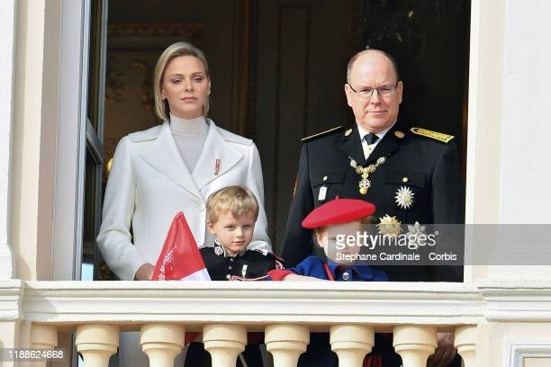 Princess Charlene of Monaco and Prince Albert II of Monaco with children Prince Jacques of Monaco and Princess Gabriella of Monaco pose at the Palace...