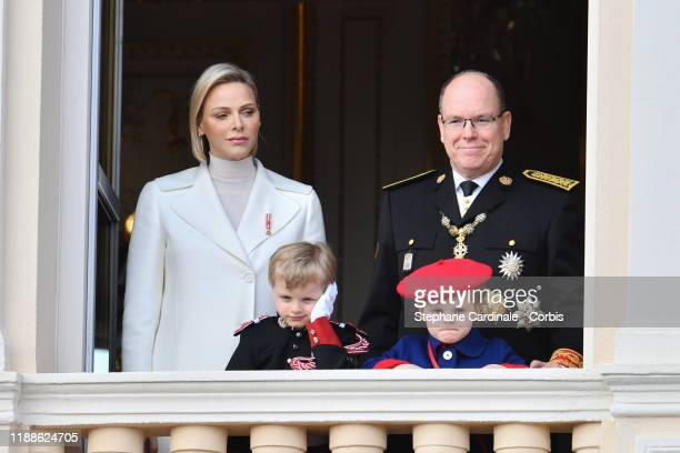 Princess Charlene of Monaco and Prince Albert II of Monaco with children Prince Jacques of Monaco and Princess Gabriella of Monaco pose at the Palace...