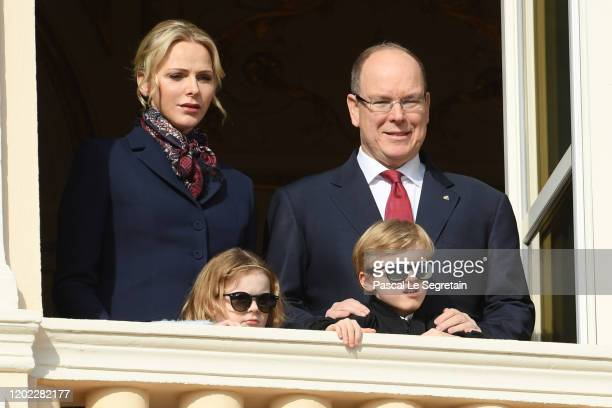 Princess Charlene of Monaco and Prince Albert II of Monaco with their children Princess Gabriella of Monaco and Prince Jacques of Monaco greet the...