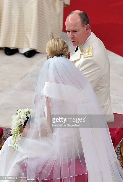 Princess Charlene of Monaco and Prince Albert Of Monaco arrive for the religious ceremony of the Royal Wedding of Prince Albert II of Monaco to...