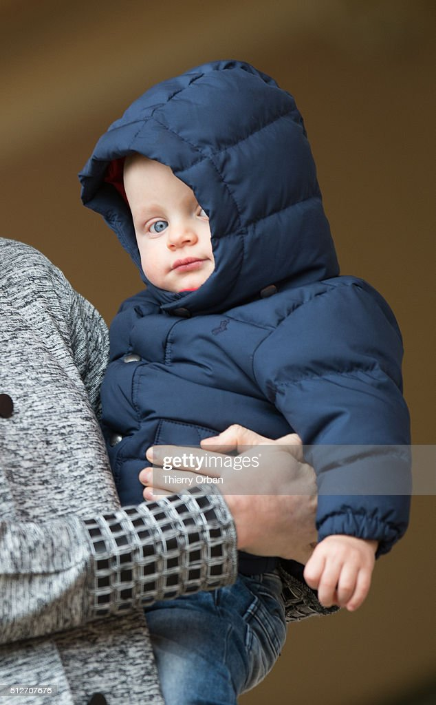 Princess Charlene of Monaco and Prince Jacques attend the 6th Sainte Devote Rugby Tournament at Stade Louis II on February 27, 2016 in Monaco, Monaco.