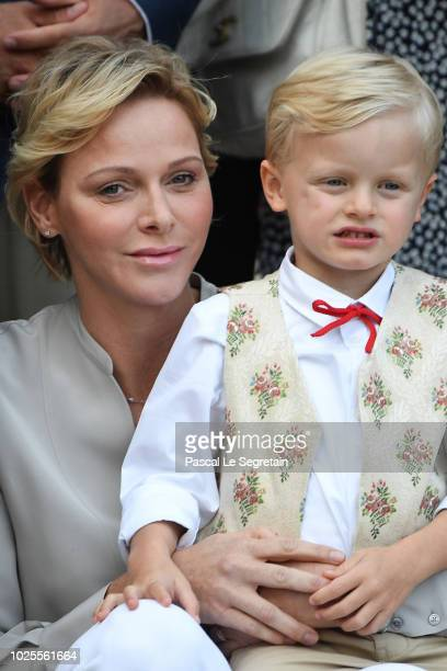 Princess Charlene of Monaco and Prince Jacques of Monaco attend the Monaco annual picnic on August 31 2018 in Monaco Monaco