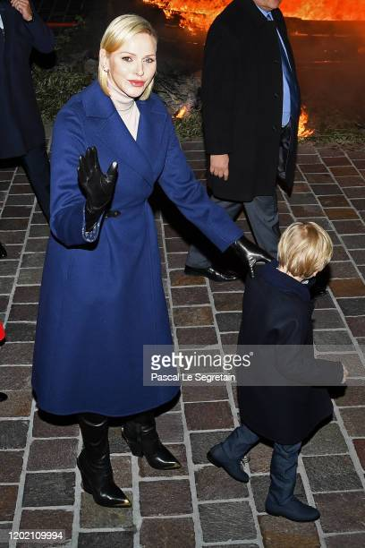 Princess Charlene of Monaco and Prince Jacques of Monaco attend the Sainte Devote Ceremony. Sainte devote is the patron saint of The Principality Of...