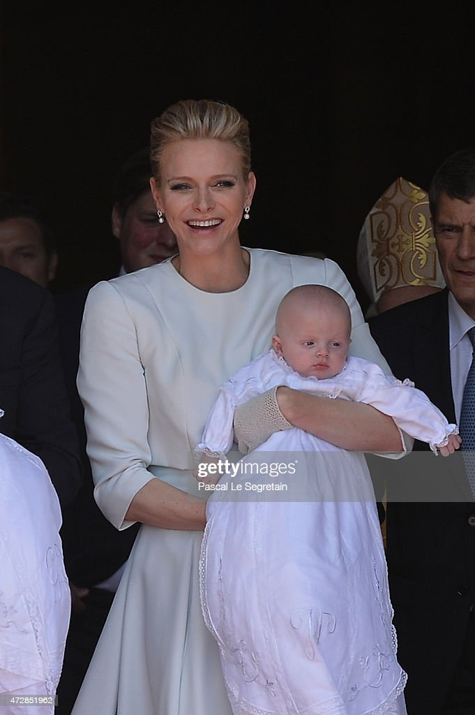 Princess Charlene of Monaco and Prince Jacques of Monaco attend The Baptism Of The Princely Children at The Monaco Cathedral on May 10, 2015 in Monaco, Monaco.
