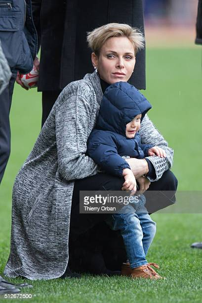 Princess Charlene of Monaco and Prince Jacques of Monaco attend the 6th Sainte Devote Rugby Tournament at Stade Louis II on February 27 2016 in...
