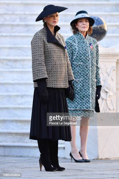 Princess Charlene of Monaco and Princess Caroline of Hanover attend Monaco National Day Celebrations on November 19, 2018 in Monte-Carlo, Monaco.