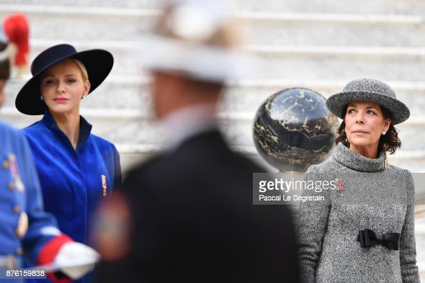 Princess Charlene of Monaco and Princess Caroline of Hanover attend the Monaco National day celebrations in Monaco Palace courtyard on November 19...