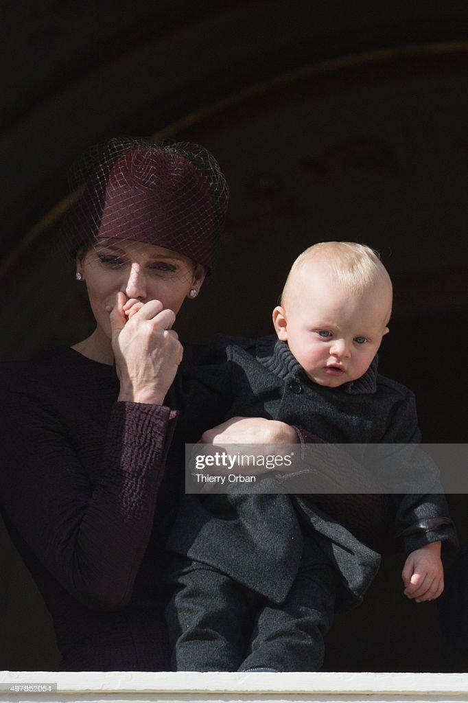 Princess Charlene of Monaco and Princess Gabriella appear on the Balcony during the Monaco national day on November 19, 2015 in Monaco, Monaco.