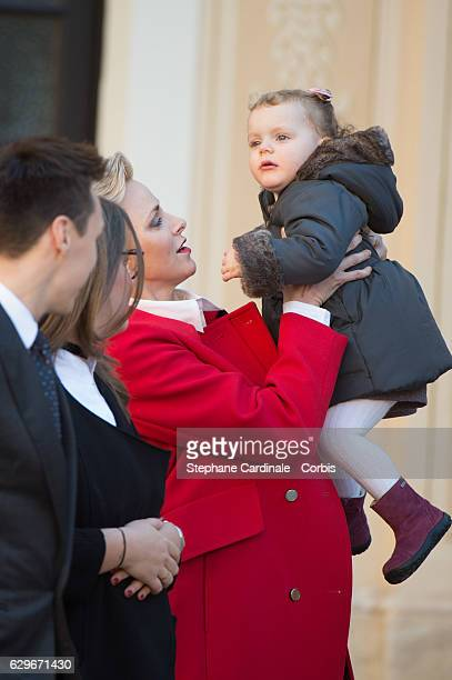 Princess Charlene of Monaco and Princess Gabriella of Monaco attend the Christmas gifts distribution at Monaco Palace on December 14 2016 in Monaco...