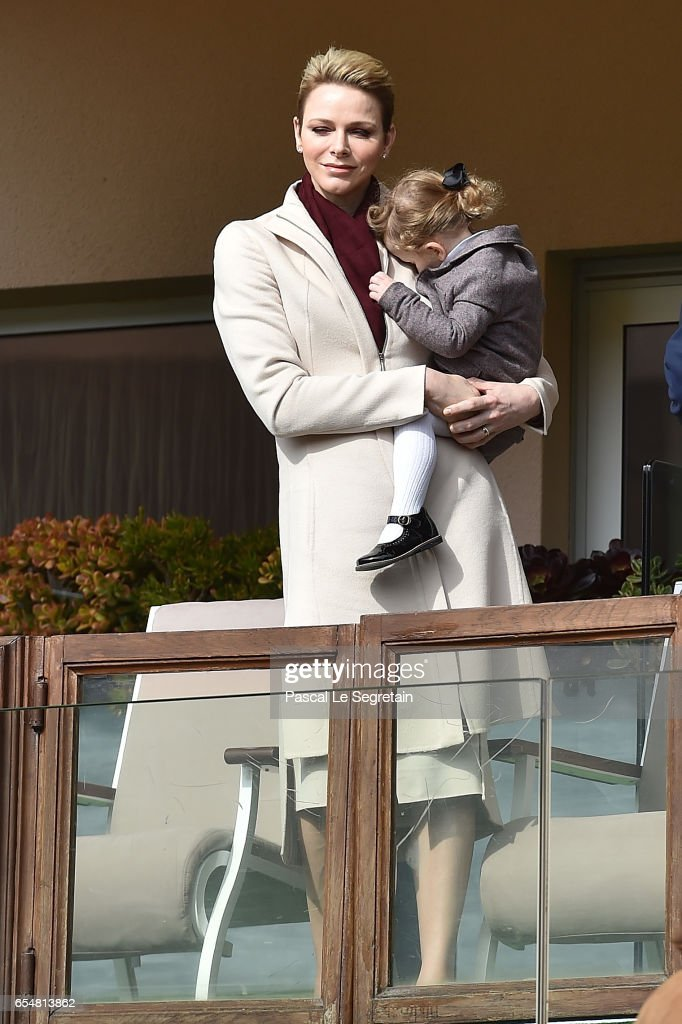 Princess Charlene of Monaco and Princess Gabriella of Monaco attend the Sainte Devote Rugby Tournament on March 18, 2017 in Monte-Carlo, Monaco.