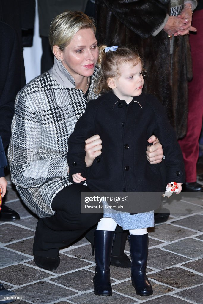 Princess Charlene of Monaco and Princess Gabriella of Monaco attend ceremony of the Sainte-Devote on January 26, 2018 in Monaco, Monaco.