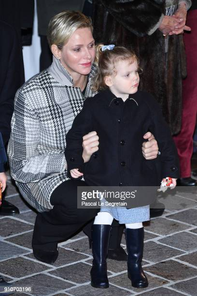 Princess Charlene of Monaco and Princess Gabriella of Monaco attend ceremony of the SainteDevote on January 26 2018 in Monaco Monaco
