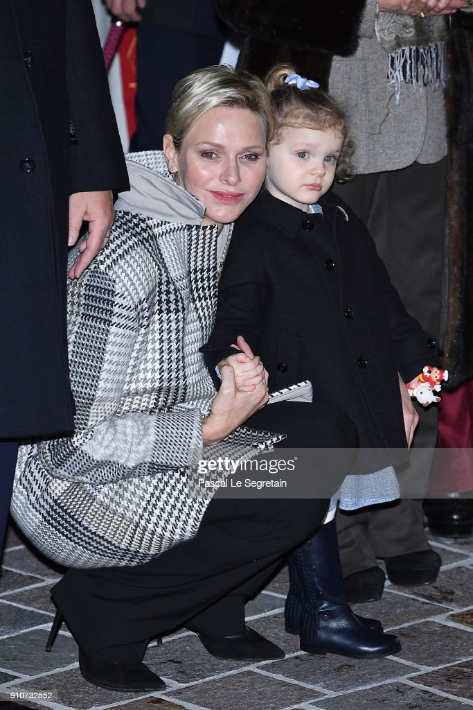 Princess Charlene of Monaco and Princess Gabriella of Monaco attend the ceremony of Sainte-Devote on January 26, 2018 in Monaco, Monaco.