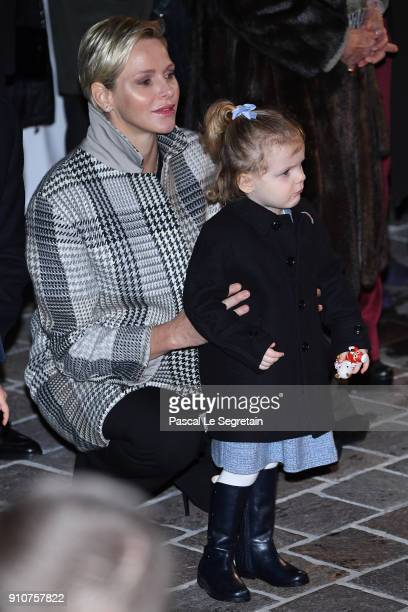 Princess Charlene of Monaco and Princess Gabriella of Monaco attend the ceremony of SainteDevote on January 26 2018 in Monaco Monaco