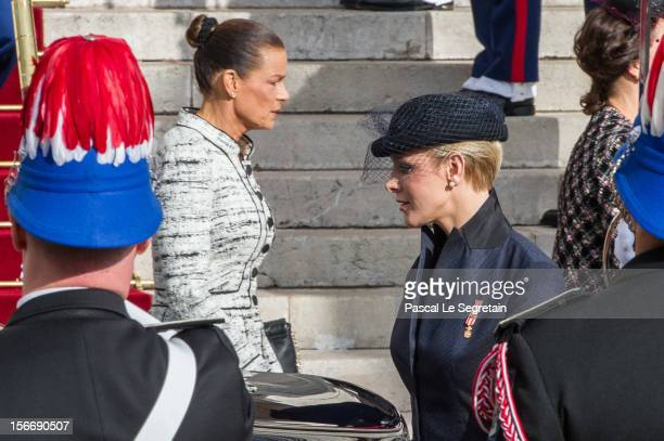 Princess Charlene of Monaco and Princess Stephanie of Monaco leave the Cathedral of Monaco after a mass during the official ceremonies for the Monaco...