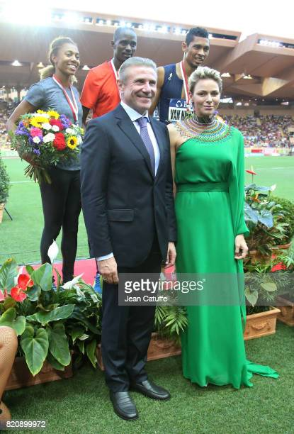 Princess Charlene of Monaco and Sergey Bubka participate at the medals ceremony during the IAAF Diamond League Meeting Herculis 2017 on July 21 2017...