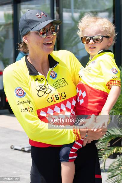Princess Charlene of Monaco and son Prince Jacques of Monaco attend the Riviera Water Bike Challenge 2018 on June 17 2018 in Monaco Monaco
