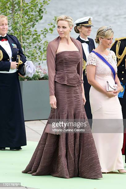 Princess Charlene of Monaco and Sophie Countess of Wessex depart fort a travel by boat to Drottningholm Palace for dinner after the wedding ceremony...