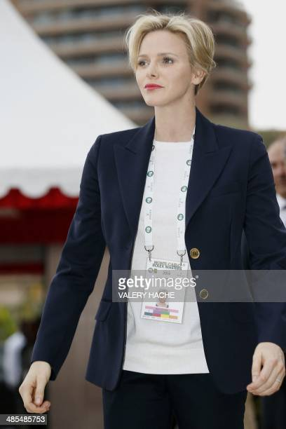 Princess Charlene of Monaco arrives at a MonteCarlo ATP Masters Series Tournament tennis match on April 18 2014 in Monaco AFP PHOTO / POOL / VALERY...
