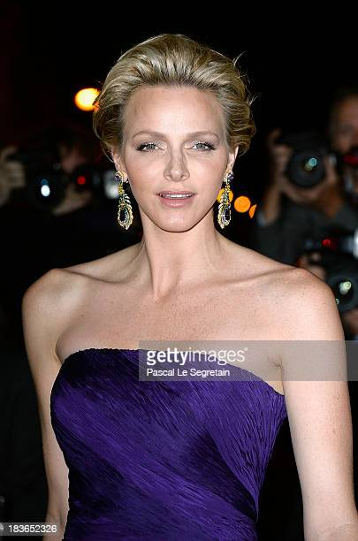 Princess Charlene of Monaco arrives at a Ralph Lauren Collection Show and private dinner at Les BeauxArts de Paris on October 8 2013 in Paris France...