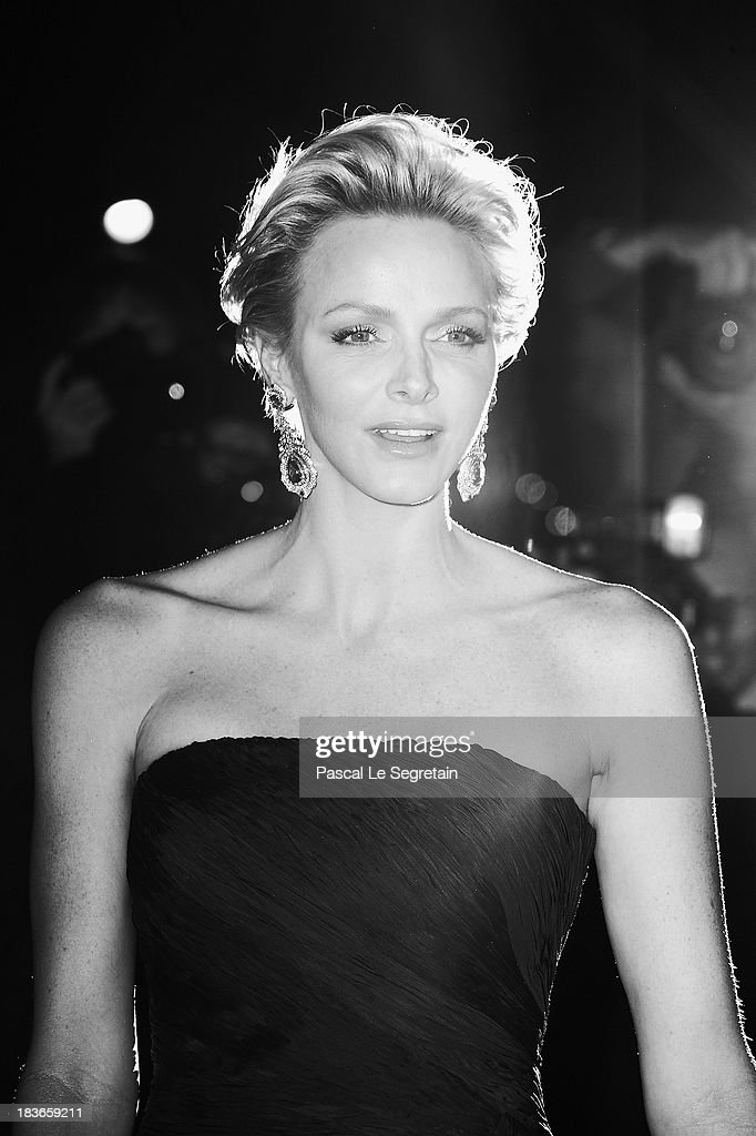 Princess Charlene of Monaco arrives at a Ralph Lauren Collection Show and private dinner at Les Beaux-Arts de Paris on October 8, 2013 in Paris, France. On this occasion Ralph Lauren celebrates the restoration project and patron sponsorship of L'Ecole des Beaux-Arts.