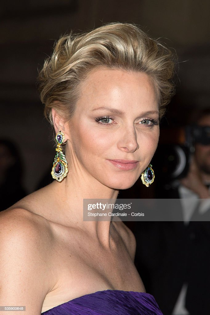 Princess Charlene of Monaco arrives at a Ralph Lauren Collection Show and private dinner at Les Beaux-Arts de Paris on October 8, 2013 in Paris, France. On this occasion Ralph Lauren celebrates the restoration project and patron sponsorship of 'L'Ecole des Beaux-Arts'.