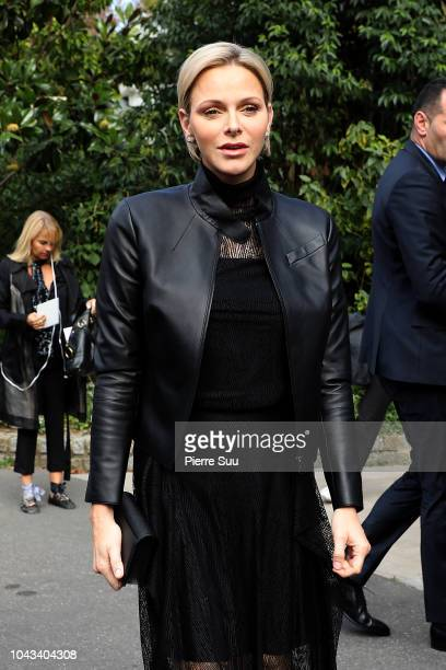 Princess Charlene of Monaco arrives at the Akris show as part of the Paris Fashion Week Womenswear Spring/Summer 2019 on September 30 2018 in Paris...