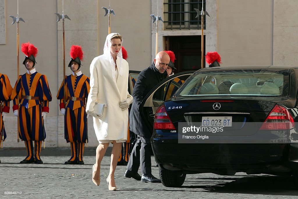 Princess Charlene of Monaco arrives at the Apostolic Palace for an audience with Pope Francis on January 18, 2016 in Vatican City, Vatican.