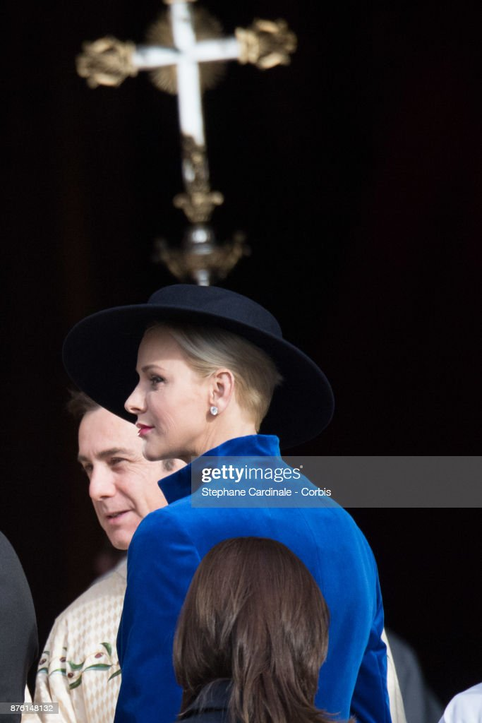 Princess Charlene of Monaco arrives at the Cathedral of Monaco before a mass during the Monaco National Day Celebrations on November 19, 2017 in Monaco, Monaco.