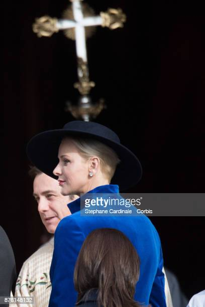 Princess Charlene of Monaco arrives at the Cathedral of Monaco before a mass during the Monaco National Day Celebrations on November 19 2017 in...