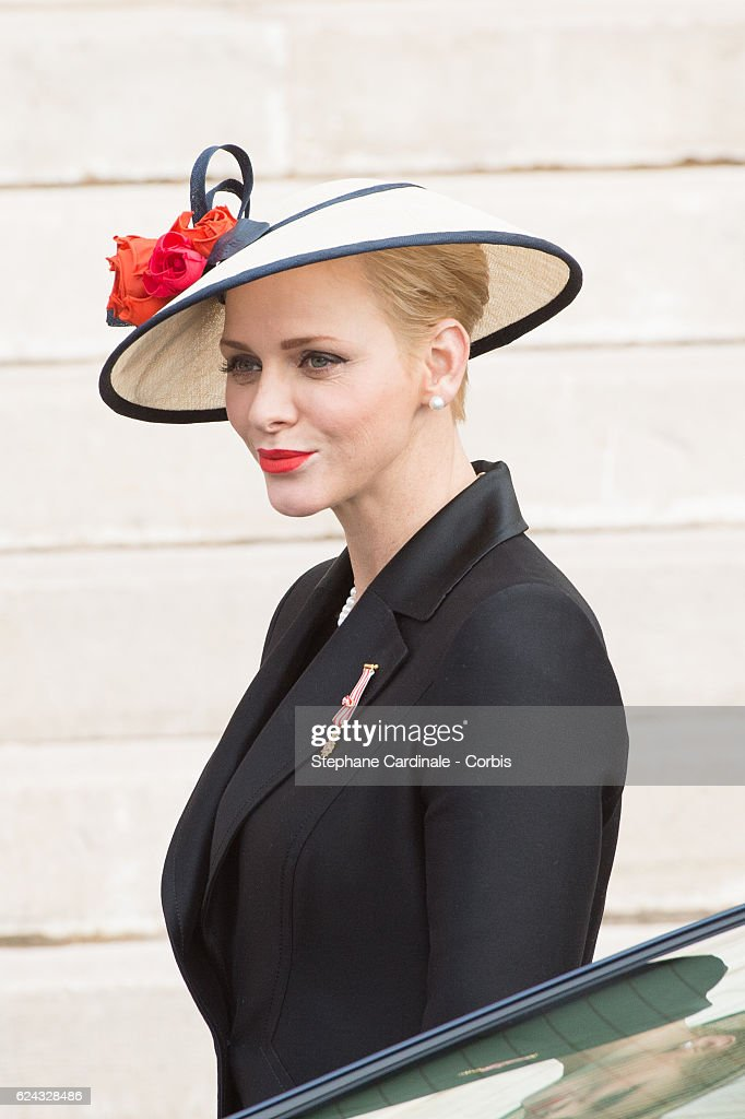 Princess Charlene of Monaco arrives at the Monaco Cathedral prior a Mass on November 19, 2016 in Monaco, Monaco.