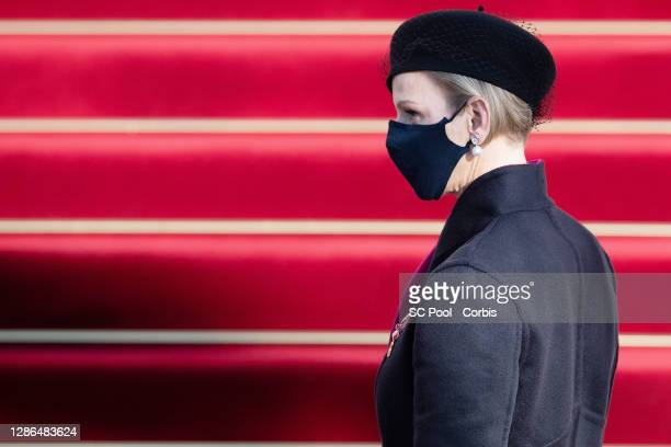 Princess Charlene of Monaco arrives at the Monaco cathedral to attend a mass during the Monaco National day celebrations on November 19, 2020 in...