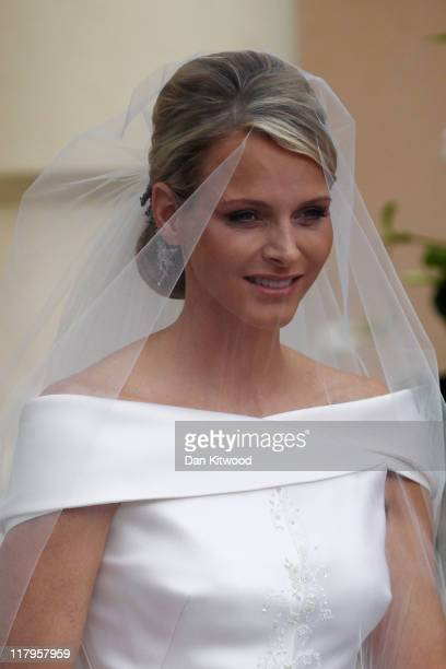 Princess Charlene of Monaco arrives at the religious ceremony of the Royal Wedding of Prince Albert II of Monaco to Princess Charlene of Monaco at...
