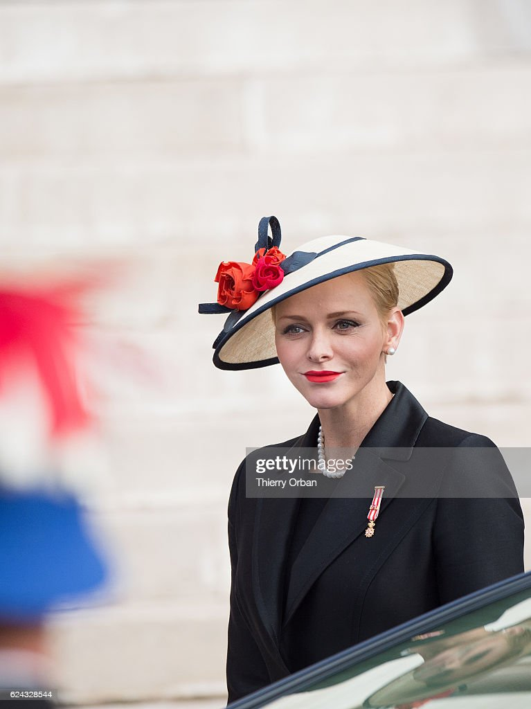 Princess Charlene of Monaco arrives the Cathedral of Monaco before a mass during the Monaco National Day Celebrations on November 19, 2016 in Monaco, Monaco.