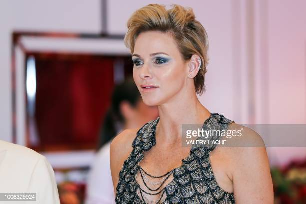 Princess Charlene of Monaco arrives to attend the 70th annual Red Cross Gala at the MonteCarlo Sporting Club on July 27 2018 in Monaco Created in...