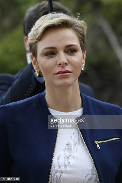 Princess Charlene of Monaco arrives to attend the MonteCarlo ATP Masters Series Tournament final tennis match between Spain and France on April 17...