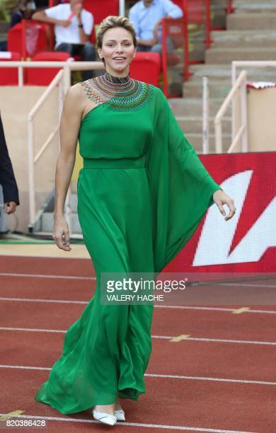 Princess Charlene of Monaco arrives to award medals at the IAAF Diamond League athletics meeting in Monaco on July 21 2017 / AFP PHOTO / Valery HACHE