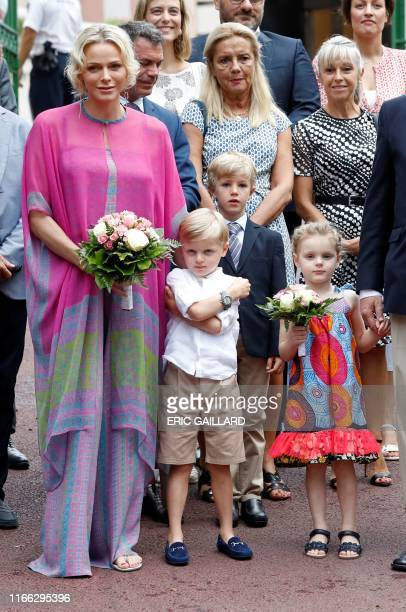 Princess Charlene of Monaco arrives with her twin children Prince Jacques and Princess Gabriella to take part in the traditional Monaco picnic in...