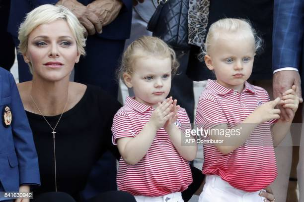 Princess Charlene of Monaco arrives with her twins Prince Jacques and Princess Gabriella to take part in the traditional Monaco's picnic in Monaco on...