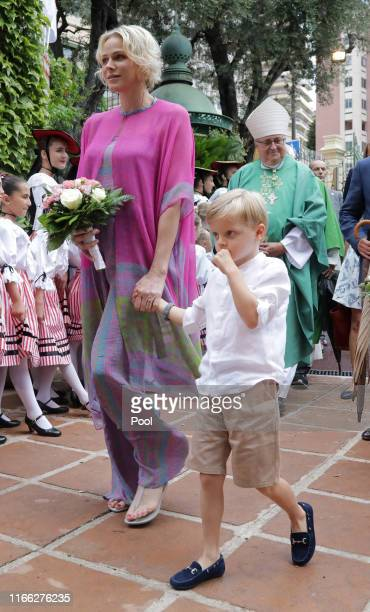 Princess Charlene of Monaco arrives with Prince Jacques to take part in the traditional Monaco picnic in Monaco September 6 2019 REUTERS/Eric...