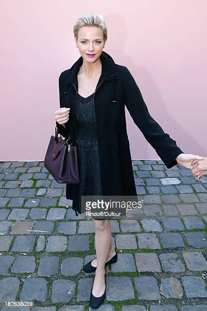 Princess Charlene of Monaco arriving at Louis Vuitton show as part of the Paris Fashion Week Womenswear Spring/Summer 2014 held at Le Carre du Louvre...