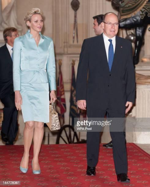 Princess Charlene of Monaco as Prince Albert II of Monaco arrive at a lunch for Sovereign Monarch's held in honour of Queen Elizabeth II's Diamond...