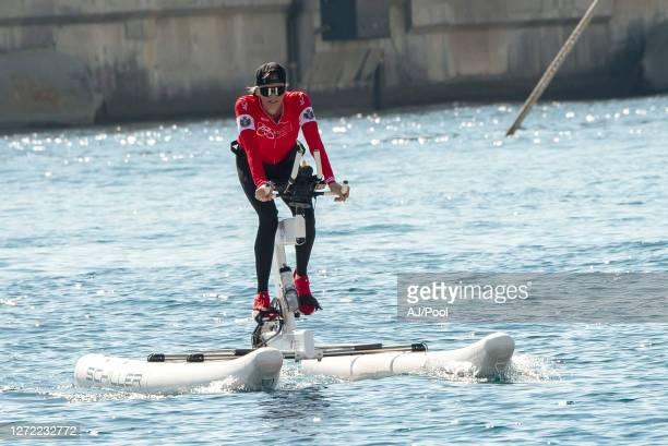 Princess Charlene of Monaco as she arrives after winning The Crossing Calvi Monaco Water Bike Challenge on September 13, 2020 in Calvi, France.