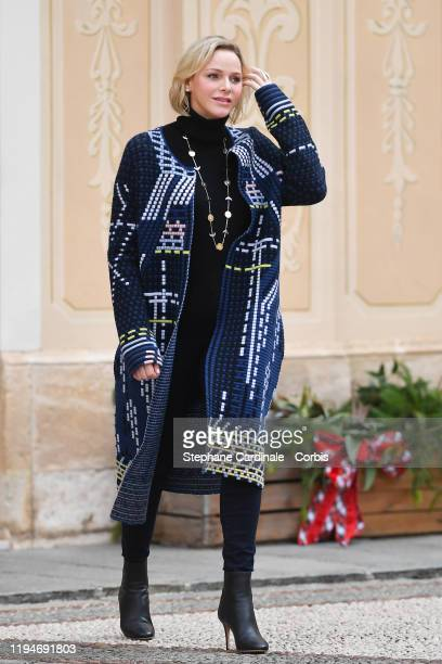 Princess Charlene of Monaco attend the Christmas Gifts Distribution At Monaco Palace on December 18, 2019 in Monaco, Monaco.