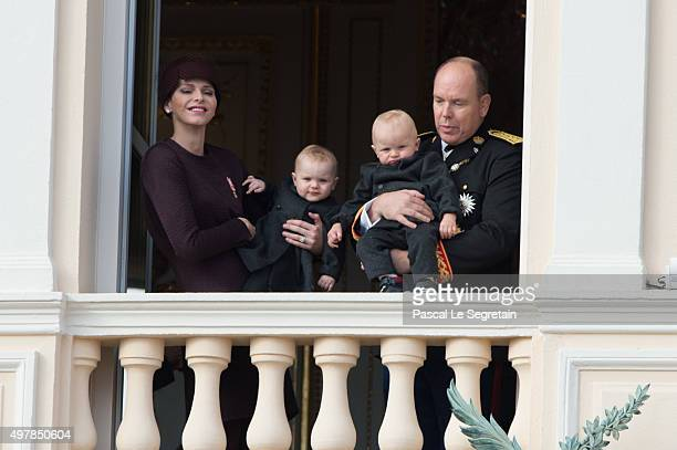 Princess Charlene of Monaco attends a balcony apprearance during the National day celebrations with Princess Gabriella Prince Jacques and Prince...